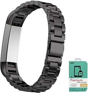 For Fitbit Alta - Rubik 3Link Stainless Steel Watch Band Strap with Screen Protector For Fitbit Alta
