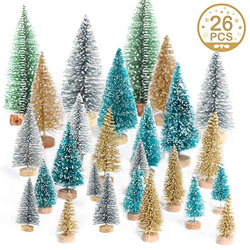 Jolik 26 Pcs Mini Artificial Christmas Trees Frosted Sisal Trees for Christmas Table Décor, 5 Sizes, 4 Colors