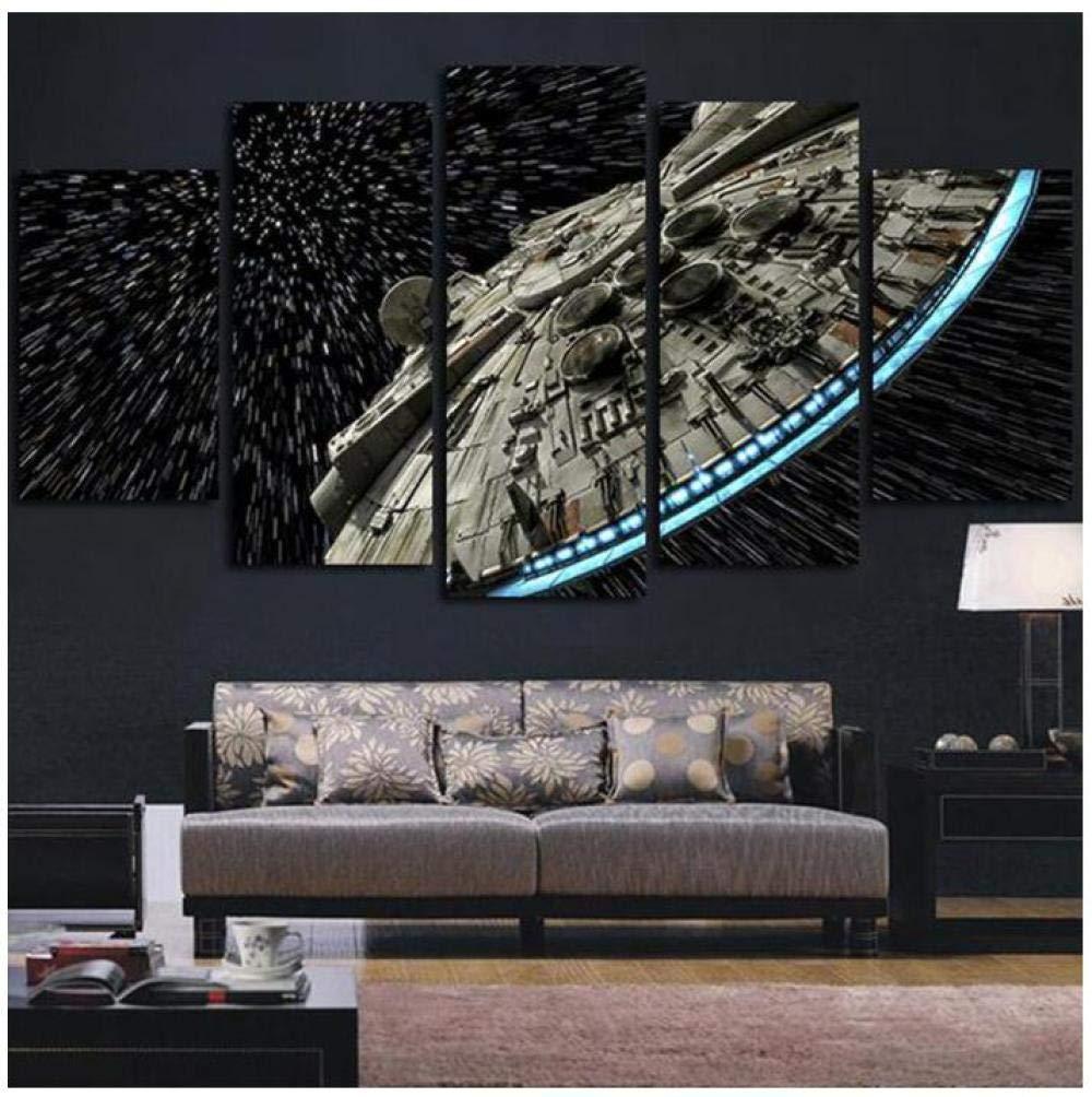 XYZNB Stampe e Quadri su Tela 5 Pannelli Star Wars Destroyer Millennium Falcon Soggiorno Stampa HD Immagini Murali Moderne Immagini Decorazioni per La Casa Poster con Cornice Taglia A