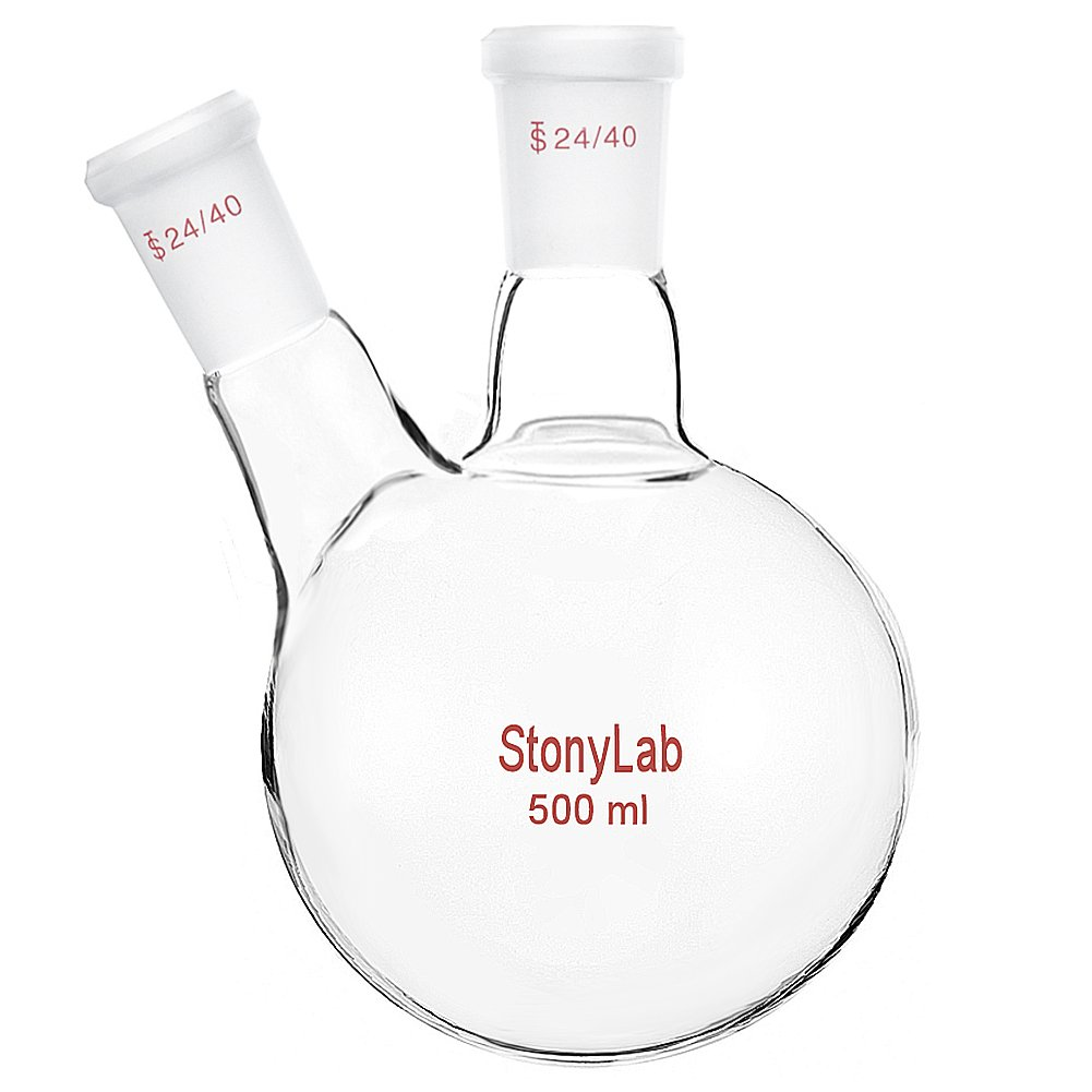 StonyLab Glass 500ml Heavy Wall 2 Neck Round Bottom Flask RBF, with 24/40 Center and Side Standard Taper Outer Joint - 500ml