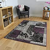The Rug House Milan Purple, Black & Gray Patchwork Area Rug 1568-H33-4′ x 5'6″ For Sale