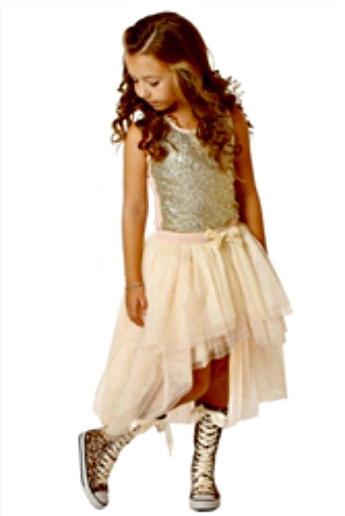 Ooh La La Couture Little Girls Pink Champagne 2 Piece Skirt Set (3T)