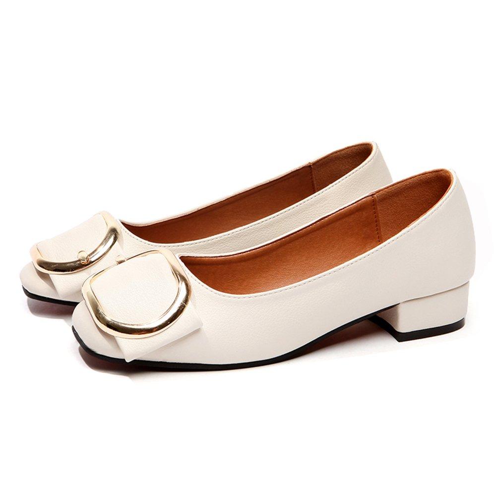 HAIZHEN Ladies Girls Botines Zapatos de tacón bajo para mujer Para 18-40 años de edad (Color : Beige, Tamaño : EU38/UK5.5/CN38): Amazon.es: Jardín