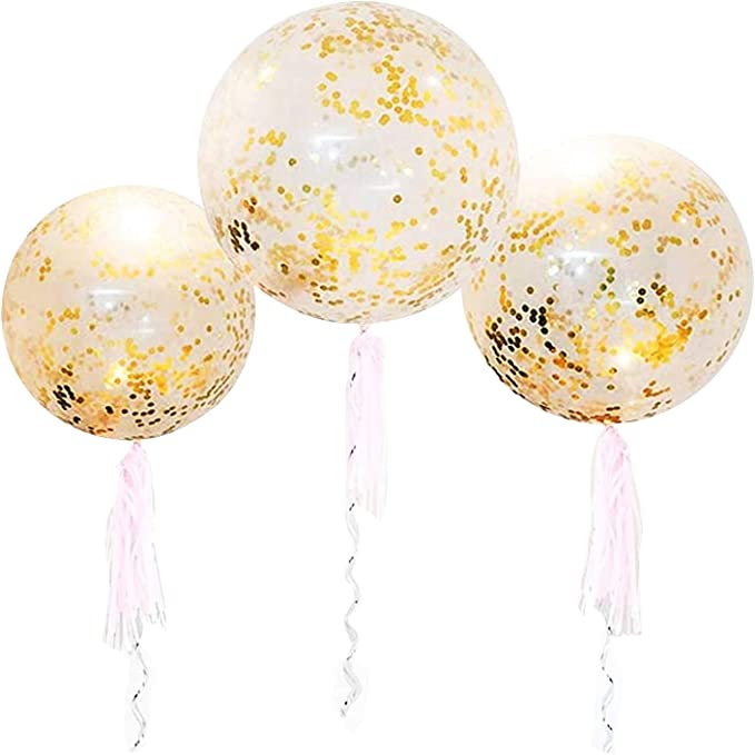 """Giant 32/"""" Confetti Filled Balloons ALL COLOURS Birthday Party Decorations UK!"""