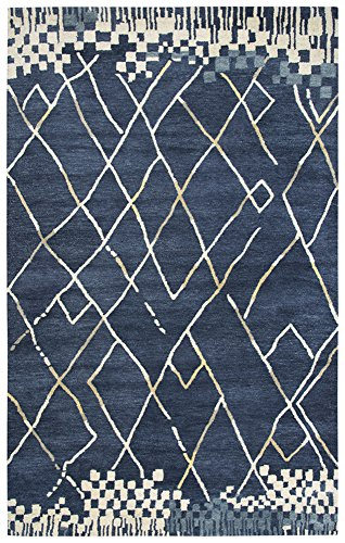 Rizzy Home Marianna Fields Collection Wool Navy/Gray/Ivory/Tan Lines/Blocks Area Rug 9' x 12' Block Tufted Wool Area Rug