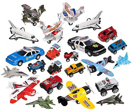 Variety Pack of 16 Random High Quality Pull Back Toy Vehicles, Planes, Space Shuttles, Racing Cars, Trucks, Motorcycles, (Toy Vehicles & Planes)