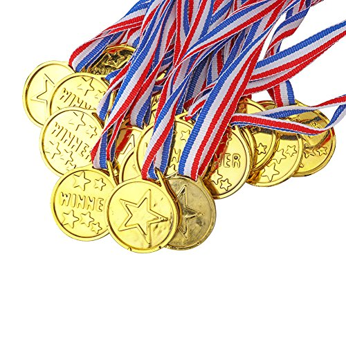 Price comparison product image Yarssir 24-Pack Kids Children's Gold Tone Winner Award Medals Set With Neck Ribbons