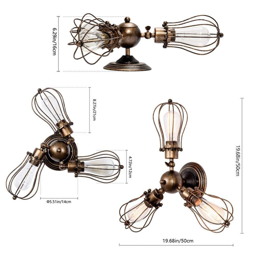 Ceiling Light Retro Metal Ceiling Lamp Industrial Edison Vintage Ceiling Light E27 (Color : Brass, Size : 3-light) - - Amazon.com