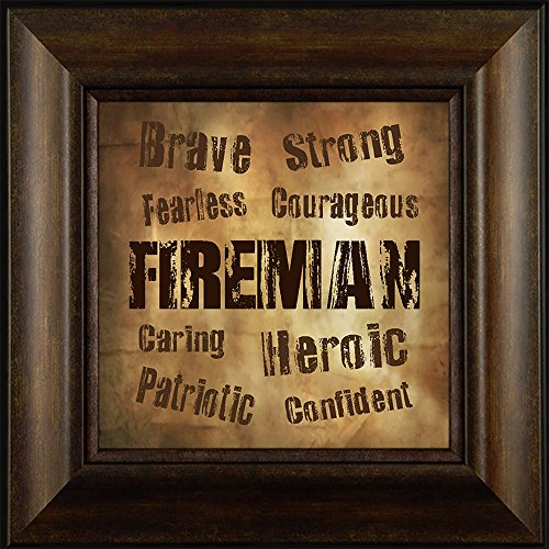 A Fireman's Character By Todd Thunstedt 20x20 Verse Saying Wild Fire First Responder Fireman Firefighter Helmet Boots Halligan Bar Chief Hose Forest Smokey Bear Ax Framed Art Print Wall Décor Picture