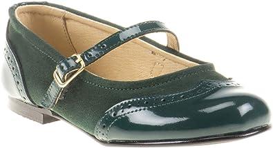 Zapatos Merceditas de niña con Cierre de Velcro. Este Zapato Francesita está Fabricado en Piel Serraje y Charol y Hecho en España - Mi Pequeña Modelo 1525I Color Verde.: Amazon.es: Zapatos y