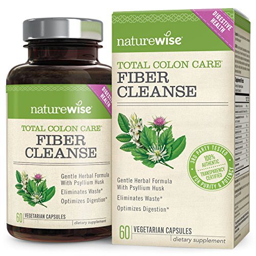 NatureWise Total Colon Care Fiber Cleanse with Herbal Laxatives, Prebiotics & Digestive Enzymes for Healthy Elimination, Detox & Gut Health, 30 to 60-Day Supply, 60 Count (Laxative Psyllium Husks Herbal)