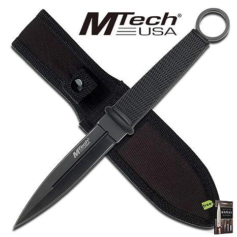 Amazon.com: SURVIVAL STEEL - Cuchillo militar de doble filo ...