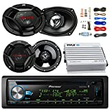Pioneer DEH-S6000BS Car CD Player Receiver Bluetooth USB AUX Radio - Bundle Combo With 2x JVC 6x9'' 3-Way Vehicle Coaxial Speakers + 2x 6.5'' Inch 2-Way Audio Speakers + 4-Channel Amplifier + Amp Kit