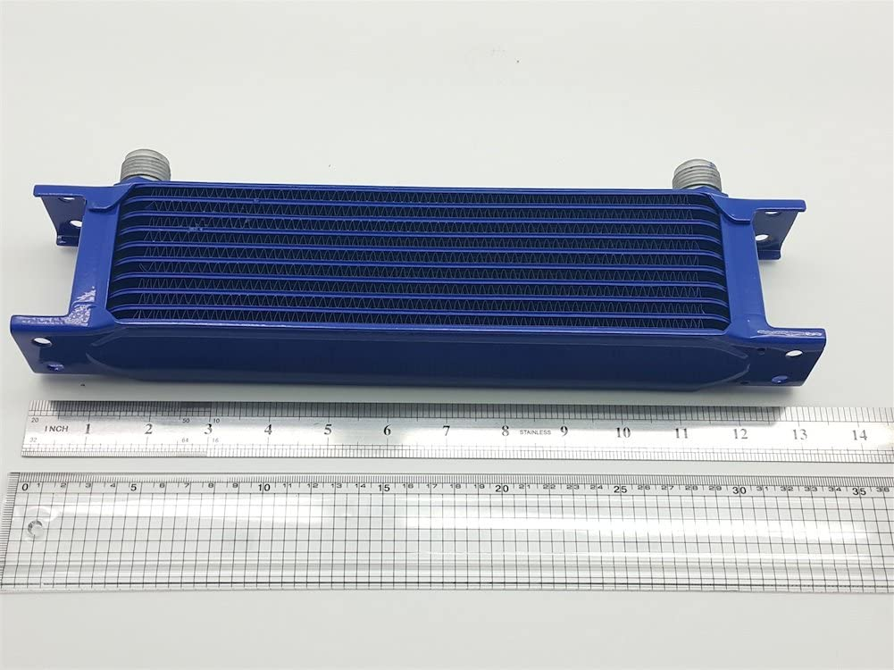10 Rows Blue Paint Autobahn88 Racing Kit: Universal Oil//Automatic Transmission Fluid ATF Cooler 300x70x50mm 10AN Ports Compact Core Size 12x3.1x2