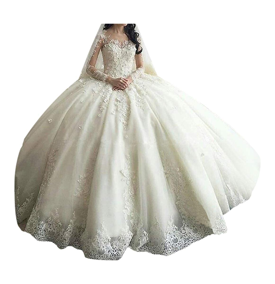 453b40b41480 TBGirl Women's Long Sleeve Lace Ball Gown Wedding Dresses Cathedral Train  at Amazon Women's Clothing store: