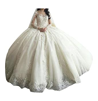 28a4ec01cd41 TBGirl Women's Long Sleeve Lace Ball Gown Wedding Dresses Cathedral Train  Ivory