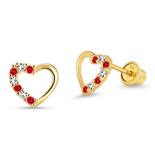 9faf8d902 Amazon.com: 14k Gold Plated Brass Red Open Heart Cubic Zirconia Screwback  Girls Earrings with Silver Post: Stud Earrings: Jewelry