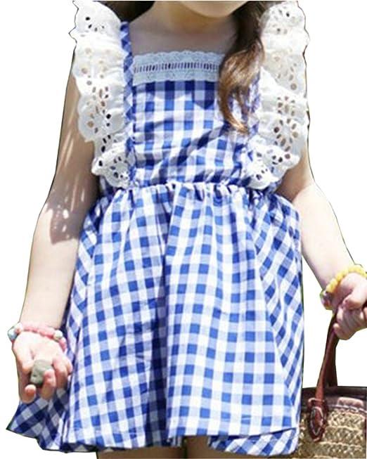Vestido De Fiesta De Niña De Verano Vestido Sin Mangas Casual Princesa Vestidos Azul 140CM