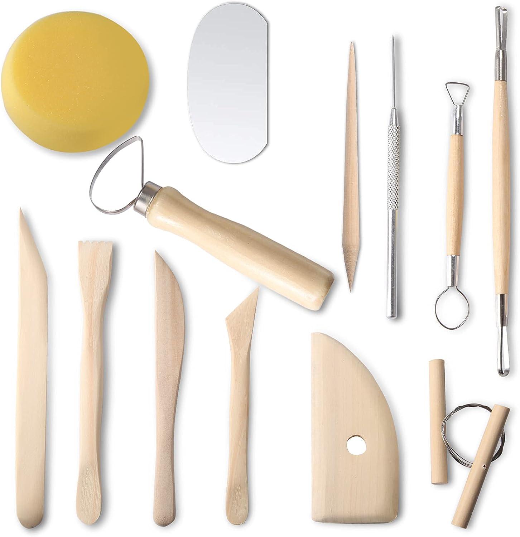 Herramientas de arcilla polimérica. Juego de herramientas de esculpir de cerámica, herramienta completa de modelado de arcilla de cerámica. Buena cerámica perfecta para principiantes. (13 piezas)