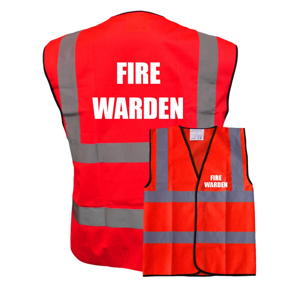 FIRE WARDEN Red Vest Printed Front and Back Safety Workwear Plus a Brook Hi Vis UK Code for your next order