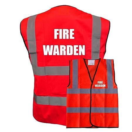 Printed By Brook Hi Vis, Reflective High Visibility Premium Fire Warden Yellow Red Hi Vis Viz Reflective Safety Vest Waistcoat