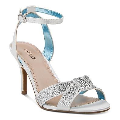 e4e1e9e7e02 Tevolio Women s Rane Embellished Cross Strap Dress Heels (White) ...