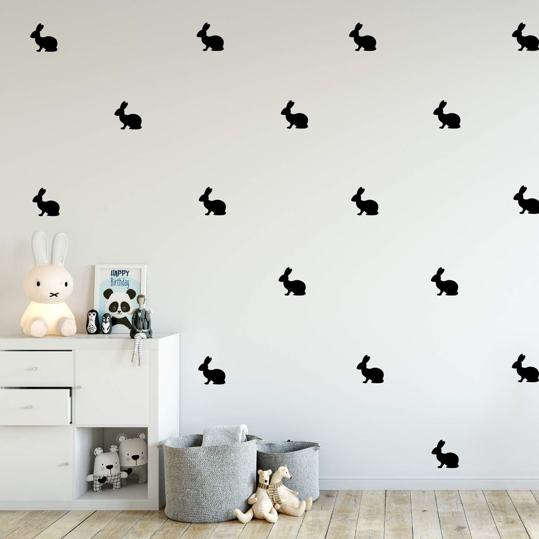 "Set of 12 Vinyl Wall Art Decals - Bunnies - 4"" x 4"" - Fun Rabbits Home Bedroom Living Room Apartment Nursery Playroom - Cute Little Kids Toddler Teens Indoor Outdoor Decor (Black)"