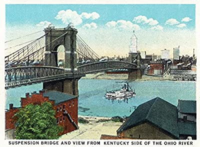 Cincinnati, Ohio - Ohio River, Suspension Bridge View from Kentucky (9x12 Collectible Art Print, Wall Decor Travel Poster)