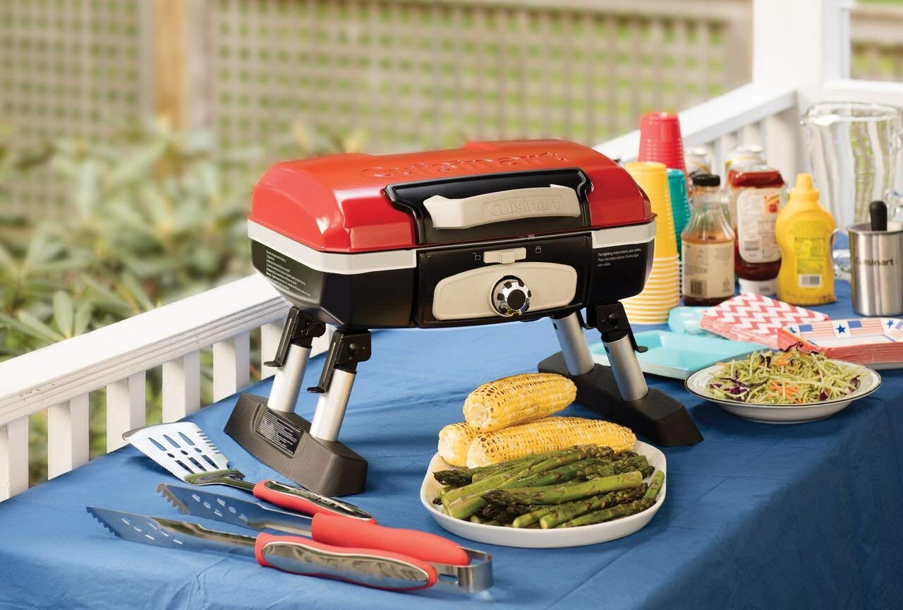 Cuisinart CGG-180T Petit Gourmet Portable Tabletop Gas Grill, Red (Renewed) by Cuisinart (Image #3)