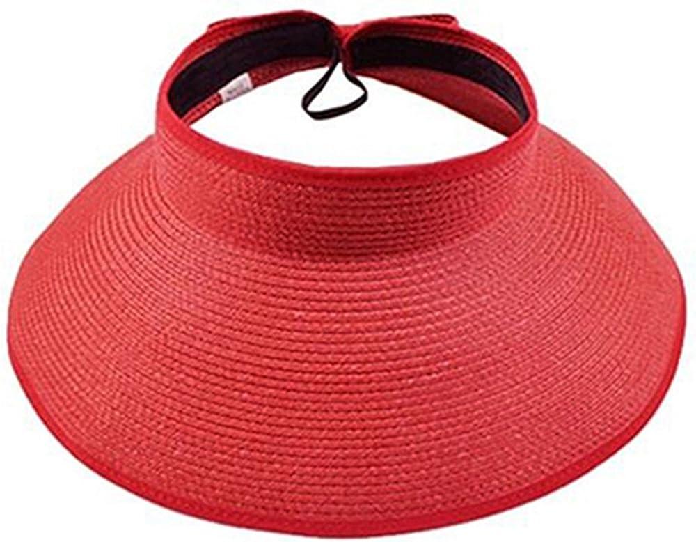 Junhouse Kids Girls Straw Sun Hat Summer Beach Visor Wide Brim Adjustable Reversible Cap