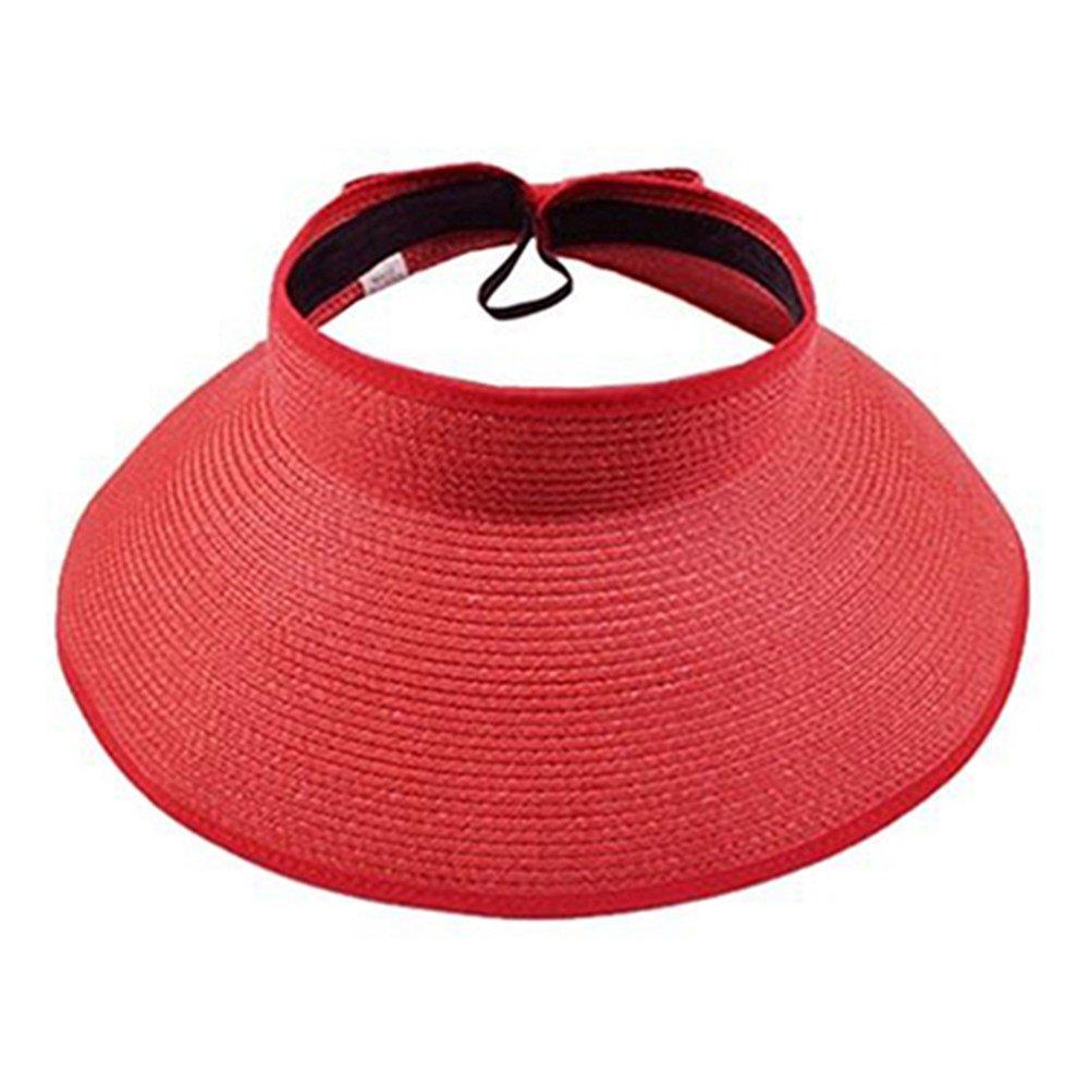 Livecity Women's Summer Wide Brim Roll Up Foldable Sun Beach Straw Braid Visor Sun Hat