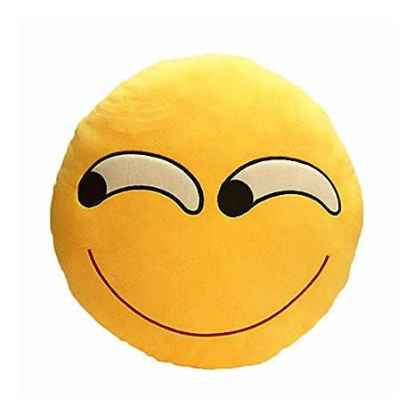 Emoji Emoticono Cojín Almohada Redonda Emoticon Bordado ...