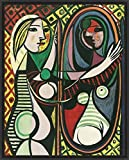 25in x 31in Girl Before a Mirror by Pablo Picasso - Black Floater Framed Canvas w/ BRUSHSTROKES