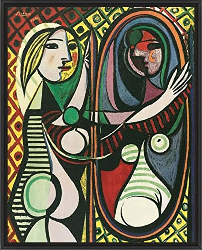 25in x 31in Girl Before a Mirror by Pablo Picasso - Black Floater Framed Canvas w/ BRUSHSTROKES by ArtToCanvas