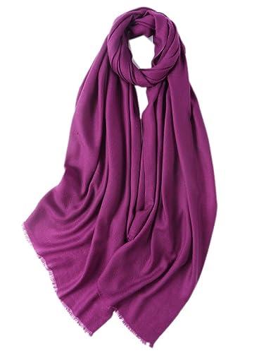 Prettystern - Mujer XL tamaño voluminoso 100% lana uni Pashmina color liso robarse flecos cortos
