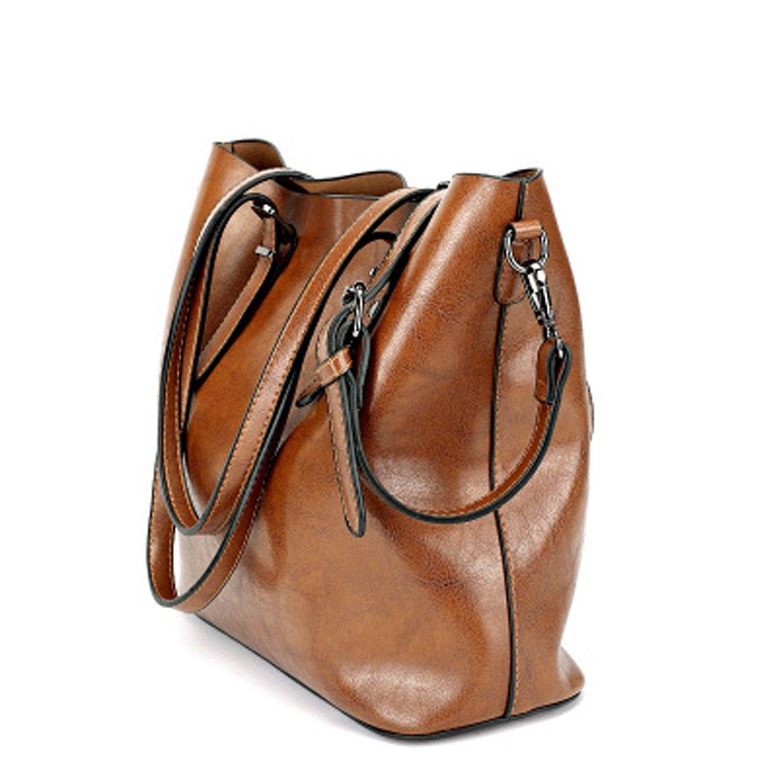 Women's Bags Handbags Shoulder Bags Genuine Leather Brown Big Casual All Seasons Black Coffee Brown Wine (Color : Brown) by WTING (Image #3)