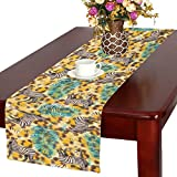 InterestPrint Watercolor Leopard Skin with Zebra and Palm Leaf Polyester Long Table Runner 16 X 72 Inches, Animal Tiger Print Table Cloth Placemat for Office Kitchen Wedding Party Home Decor