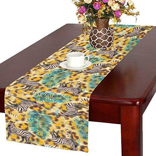 InterestPrint Watercolor Leopard Skin with Zebra and Palm Leaf Polyester Long Table Runner 16 X 72 Inches, Animal Tiger Print Table Cloth Placemat for Office Kitchen Wedding Party Home Decor by InterestPrint