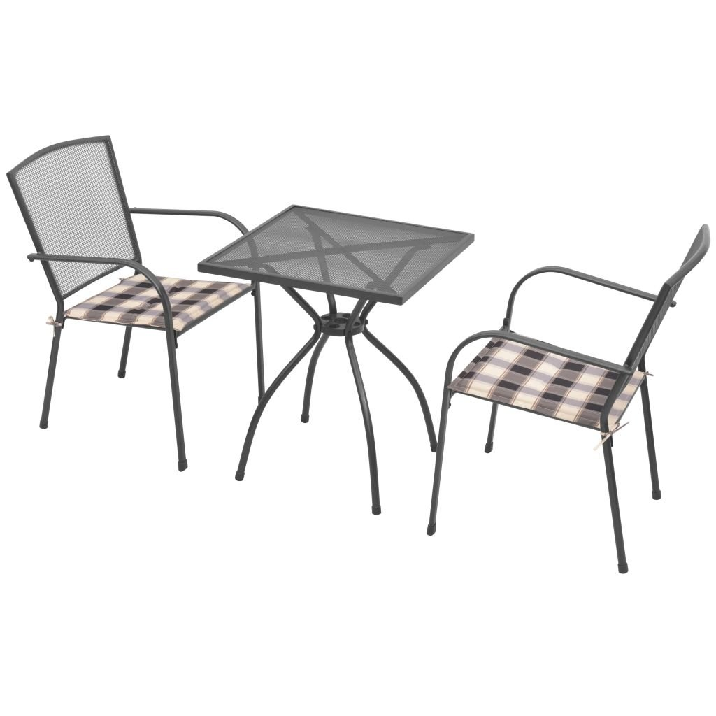 Festnight Bistro Tisch mit 2 Stühlen Garden Bistro Set 5 Stück mit Sitzkissen Stahlgewebe
