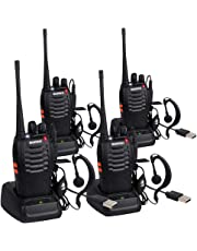 4 Pack BF-888S USB Rechargeable Walkie Talkies Long Range 5W 16CH CTCSS DCS High Illumination Flashlight Portable Handheld 2 Way Radio + Original Earpieces