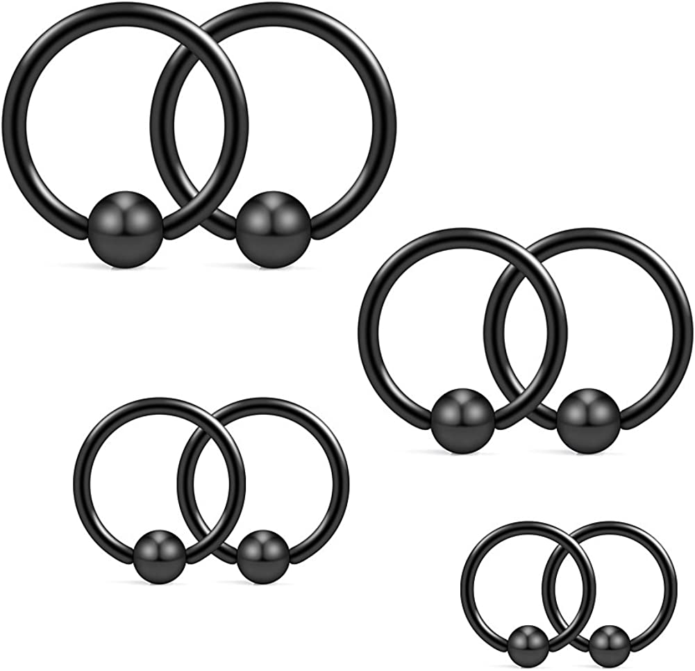 Ruifan 14G 316L Surgical Steel Captive Bead Ring PA Nipple Eyebrow Belly Tragus Cartilage Septum Piercing Jewelry 8PCS