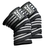 """Mava Knee Wraps with Hook and Loop Closure, One Pair, Improve Balance, Coordination, Flexibility & Endurance - Grow Core Strength – 72"""" Long Heavy-Duty Elastic – Patella Knee Support"""