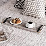 MyGift 24-Inch Graywashed Wood Plank Serving Tray with Leatherette Strap Handles
