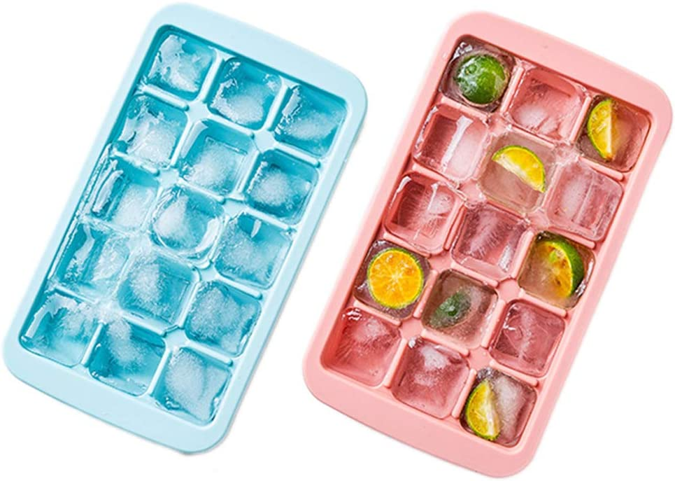 AWYGHJ 2 Pack Reusable Baby Silicone Tray, Food Storage Container Freezer Trays with Removable Clip-on Lid, for Chilled Drinks, Homemade Baby Food, Vegetable
