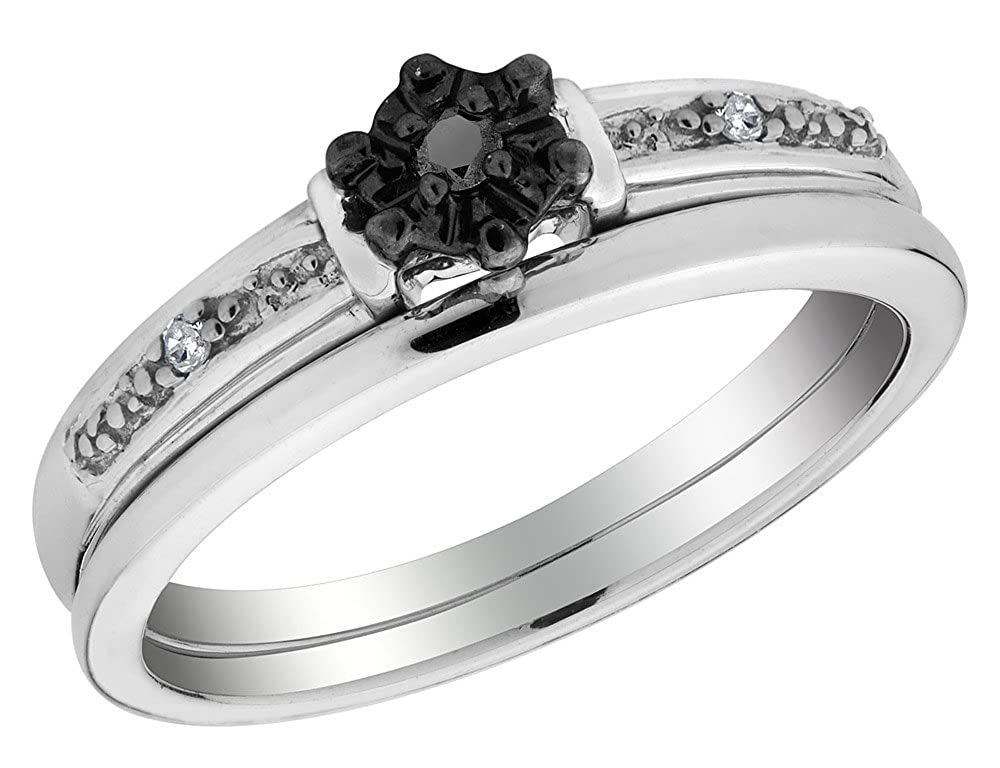 Black Diamond Engagement Ring and Wedding Band Set in Sterling Silver ZAHRAS-Jewelry Crafters 68HEG06555