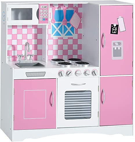 Xiaolong Large Girls Boys Kids Pink Wooden Play Kitchen Role Play Pretend Toy Furniture Model 3