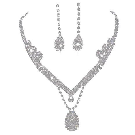 ecb6132ec65b Leisial Nupciales Conjunto de Collar Pendientes Flores Forma de Gota de  Agua Rhinestone Brillantes de Accesorios