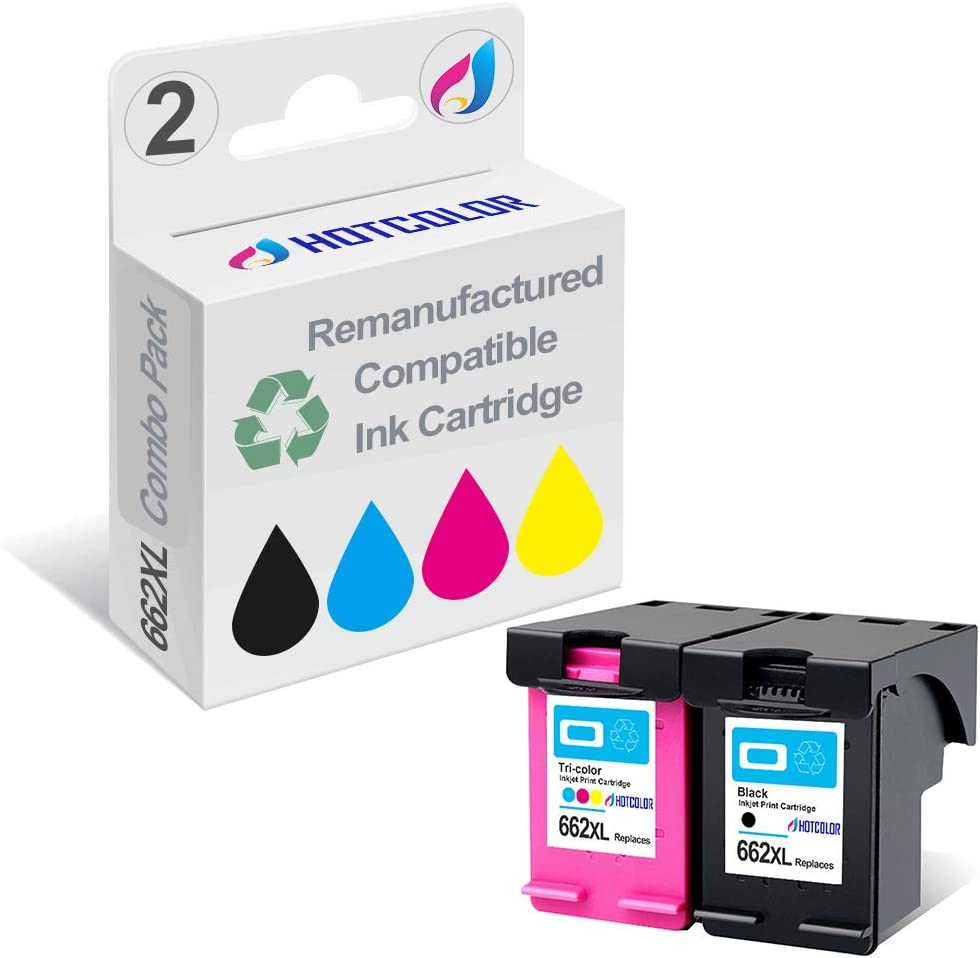 HOTCOLOR 2 Pack 662XL (1 Black 1 Color) Replacement for HP 662XL HP 662 XL Ink Cartridge Deskjet Ink Advantage 2545 2546 2645 2646 3515 3516 Printer (CZ105AL/CZ106AL)