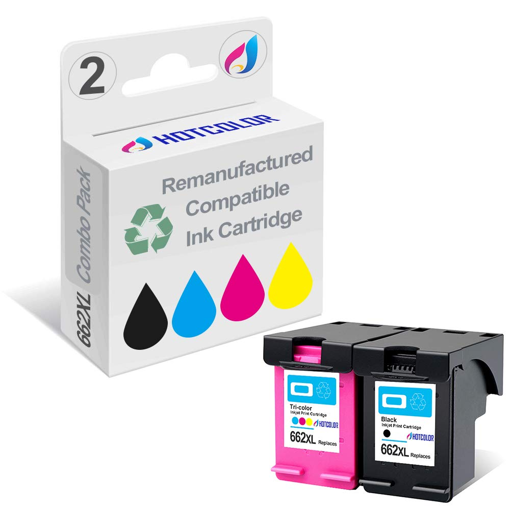 HOTCOLOR 2 Pack 662XL (1 Black 1 Color) Replacement for HP 662XL HP 662 XL Ink Cartridge Deskjet Ink Advantage 2545 2546 2645 2646 3515 3516 Printer ...