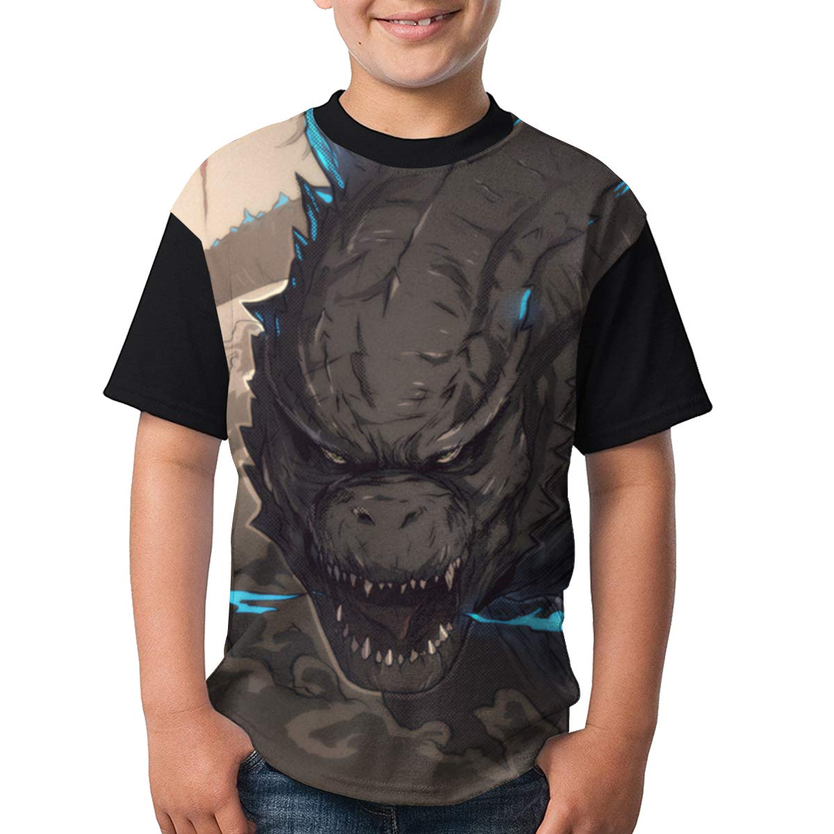 Selfhood-Vogue Youth God-Zilla Tee T-Shirt for Teenager Boys Girls Black